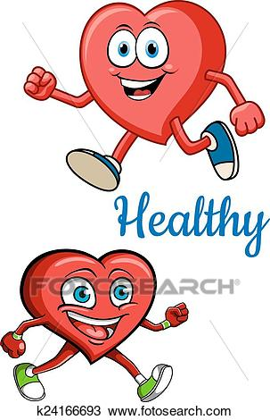 Cartoon running hearts characters Clipart.