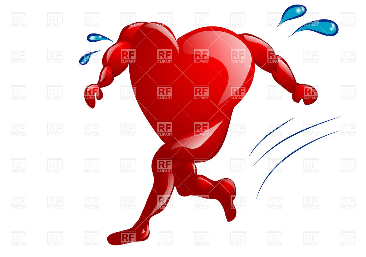 Running heart with legs and hands Stock Vector Image.