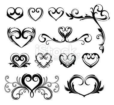Heart Scroll Clip Art.