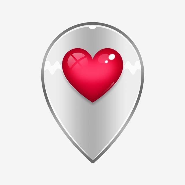 Glossy Heart Location, Location Icon, Valentine, Heart Icon.