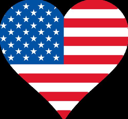 USA flag inside heart shape.