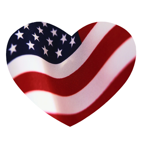 Heart Shaped American Flag.