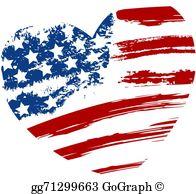 Usa Flag With Heart Clip Art.