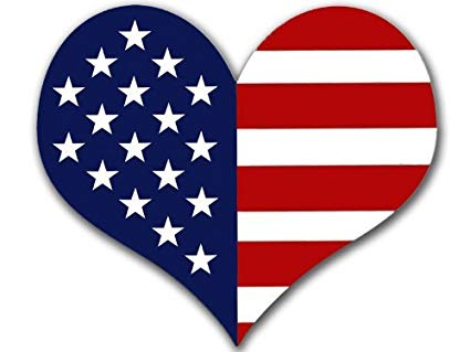 Heart Shaped American Flag Sticker (USA Made Patriotic Patriot Love).