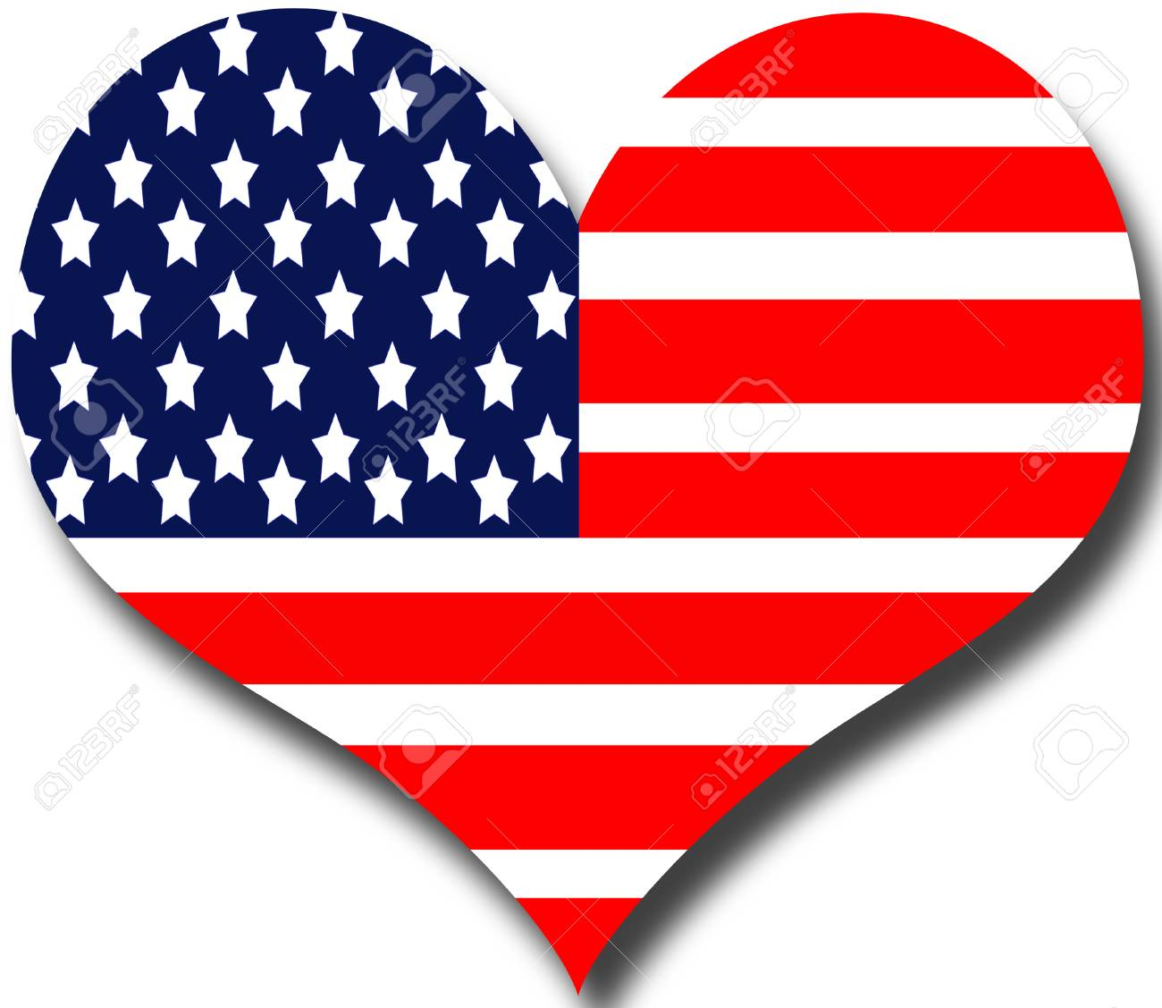 American Flag Heart Clipart.