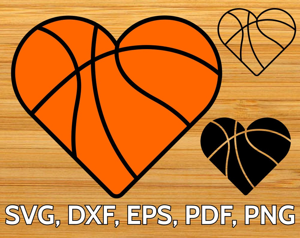 Basketball Heart SVG Cut File for Cricut & Silhouette, Heart shaped.