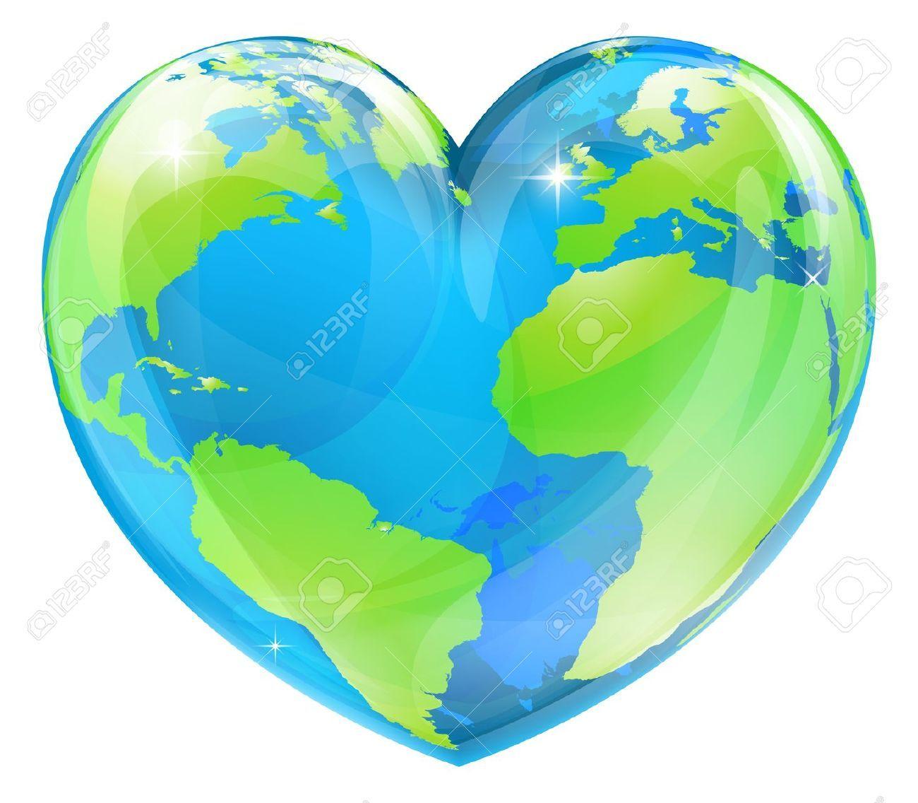 Heart Shaped World Map Clipart.