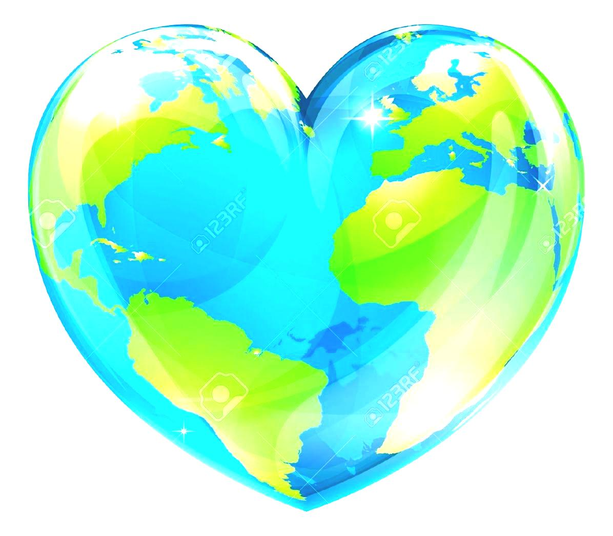 Hearts around the world clipart.