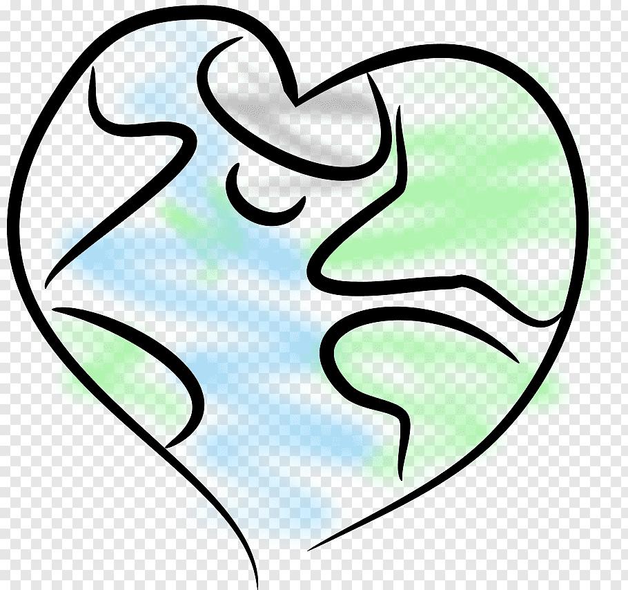 Earth Cartoon Drawing, Heart, Line Art, Symbol free png.