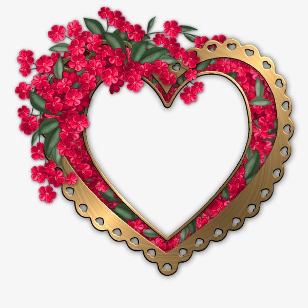 Heart Shaped Flowers Frame.