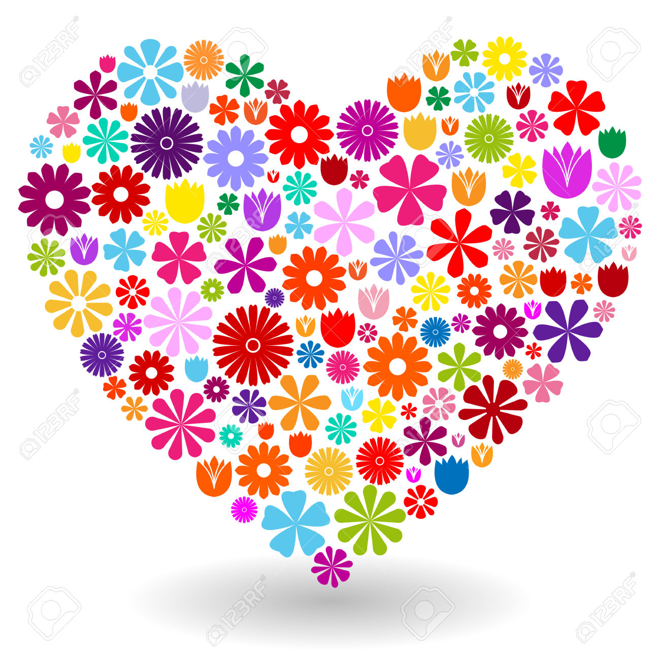 Heart Shape Made By Colorful Flowers With Shadow On White Royalty.