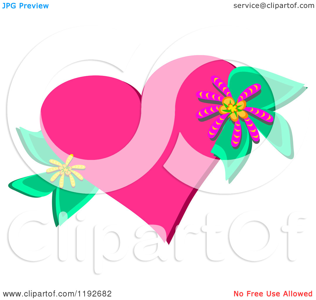 Cartoon of a Pink Heart with Flowers and Leaves.