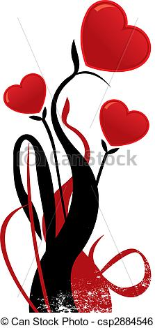 Clip Art Vector of Valentines heart shaped flower vector.
