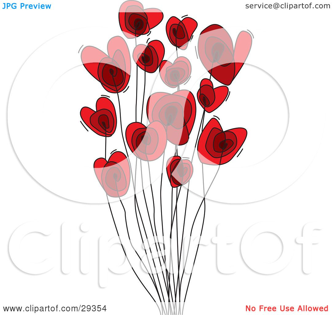 Clipart Illustration of a Group Of Red Heart Shaped Flowers On.