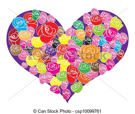 Clip Art Vector of Rose flower in the heart shaped.