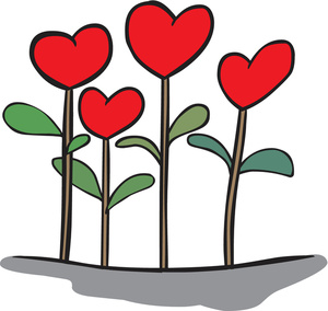 Heart Flowers Clipart Image.