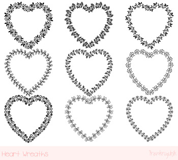 Heart shaped frames clipart set, Black Valentine borders clip art, Love  wreaths.