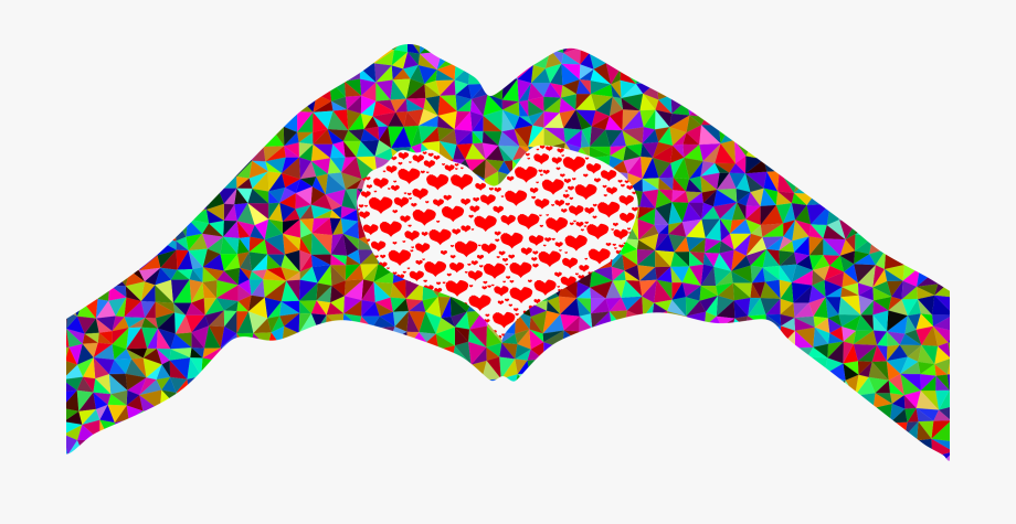 Poly Prismatic Fractal Heart Hands Silhouette.