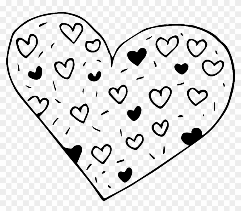 Black And White Hand Drawn Heart Shaped Love Vector.