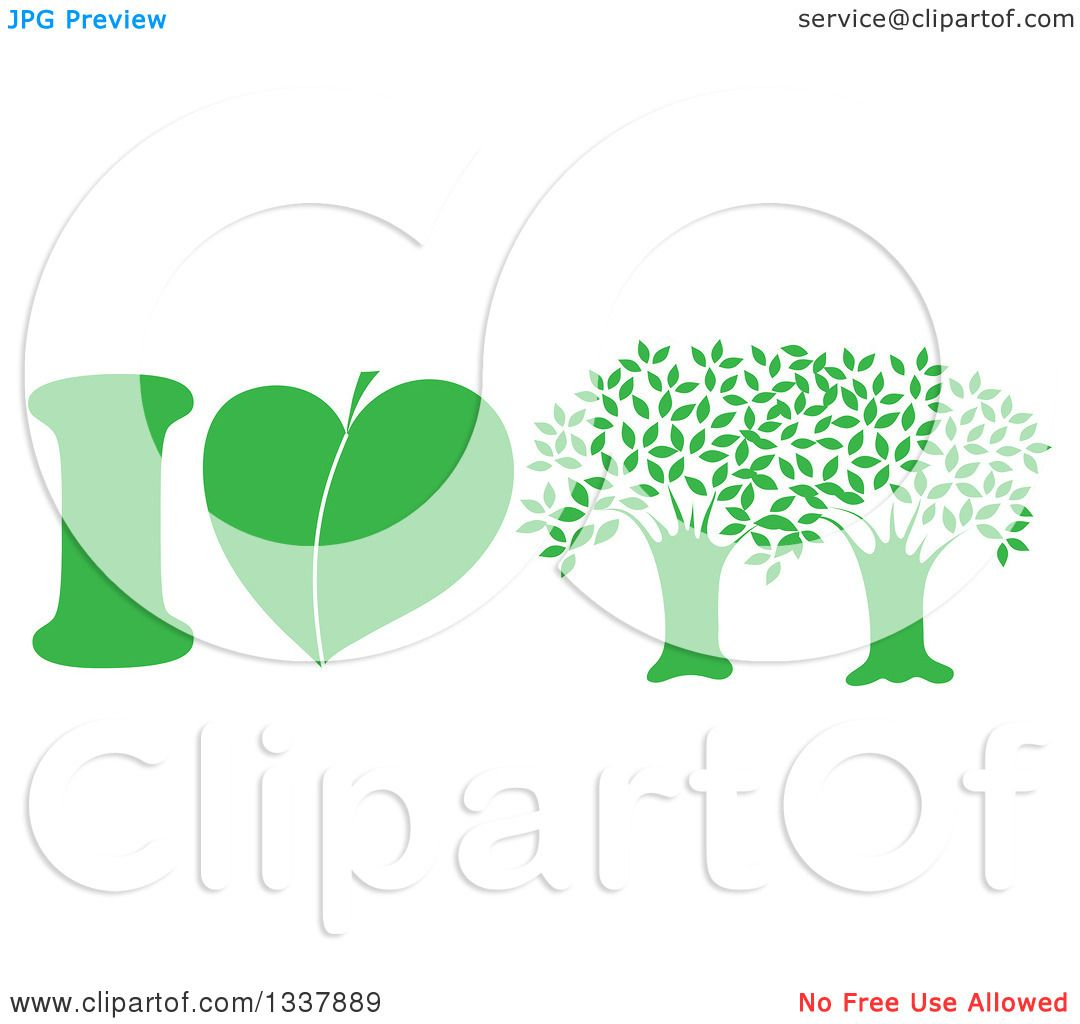 Clipart of a Green I Love Trees Design with a Heart Shaped Leaf.