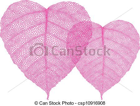Vector Clipart of red heart leaves, vector.