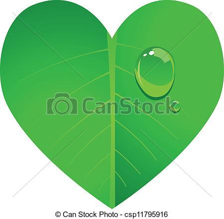 Vector Clip Art of Heart Leaf.