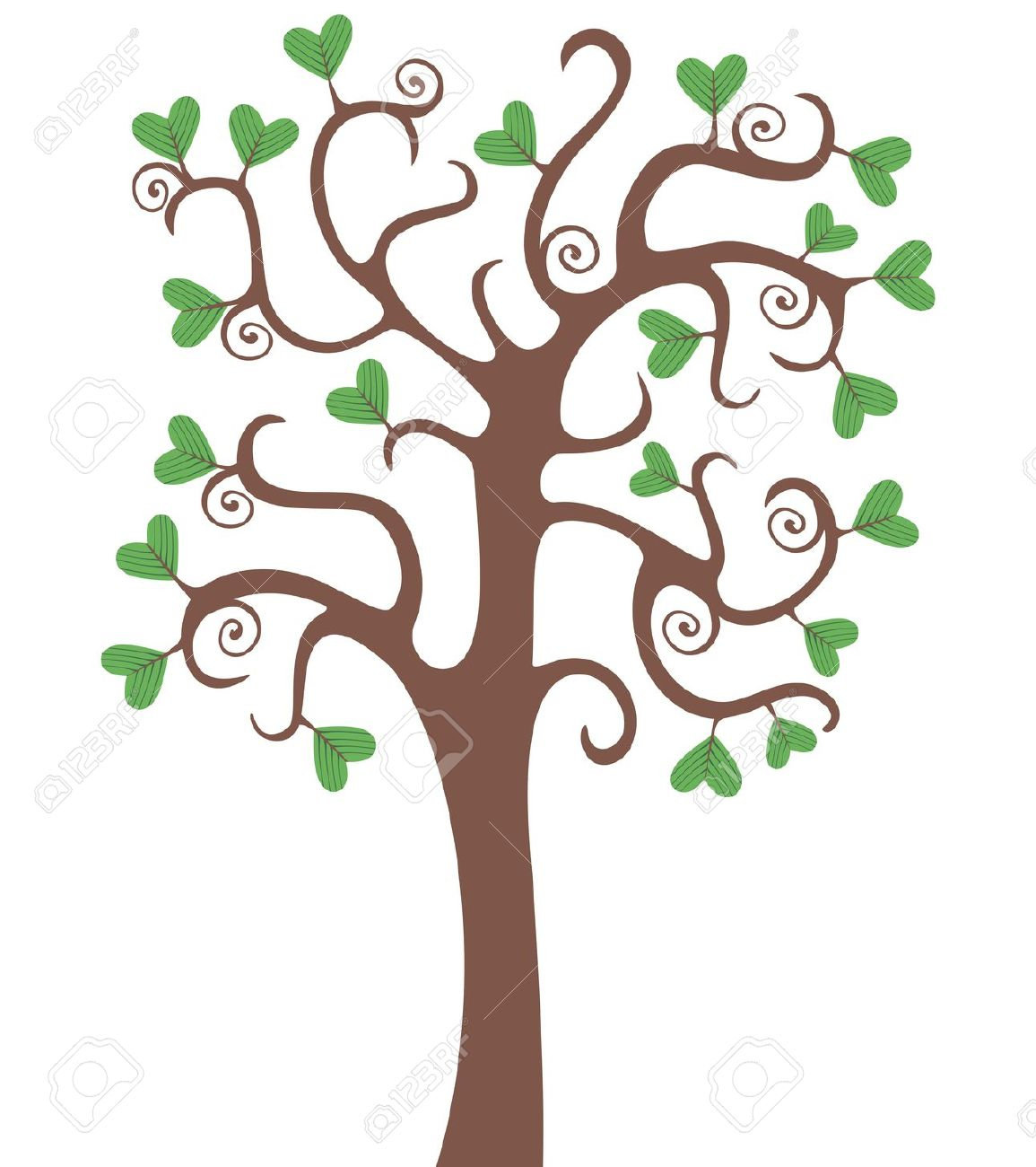 Tree With Heart Shaped Leaves Royalty Free Cliparts, Vectors, And.