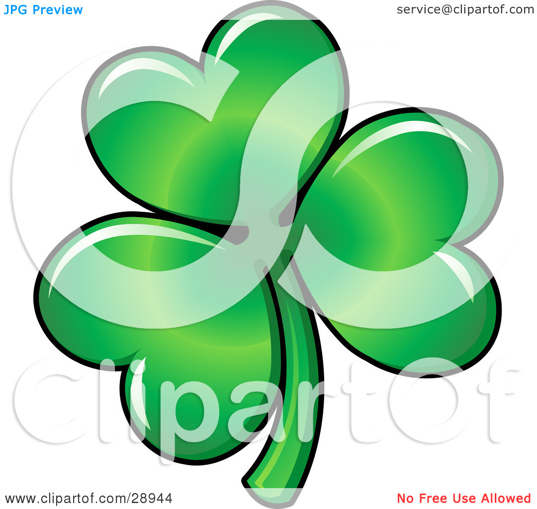 Clipart Illustration of Green Three Leaved Shamrock Clover Leaf.