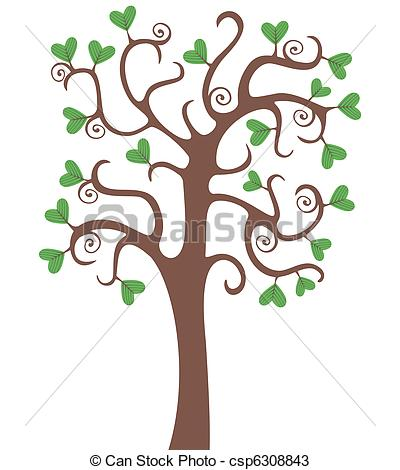 Tree With Heart Shaped Leaves Clipart.