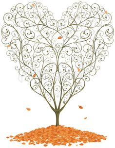 Tree with heart shaped leaves clipart free.