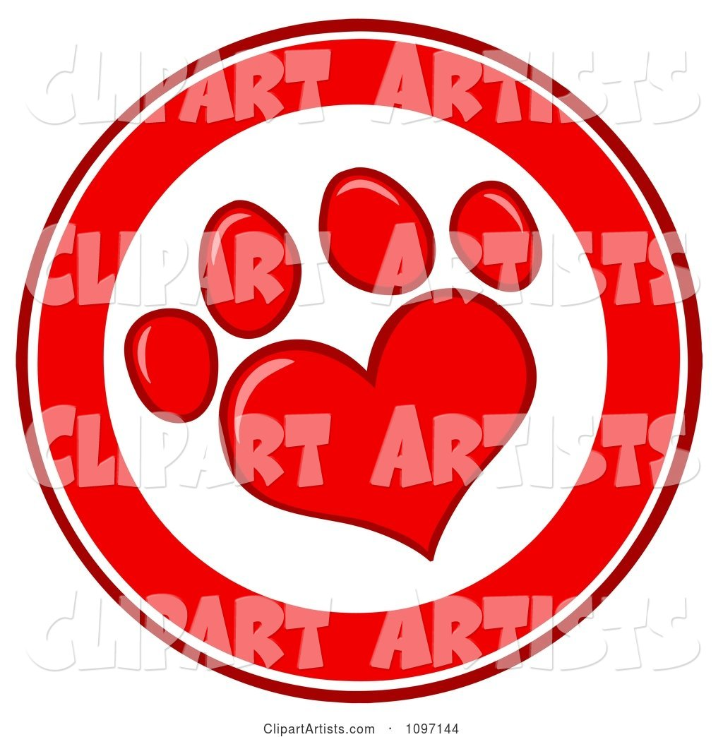 Red And White Heart Shaped Dog Paw Print Circle Clipart by.