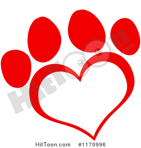 Paw Print Clipart #1170996: Red Heart Shaped Paw Print by.