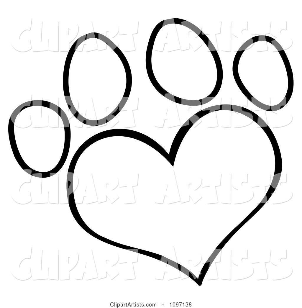 Outlined Heart Shaped Dog Paw Print Clipart by Hit Toon.