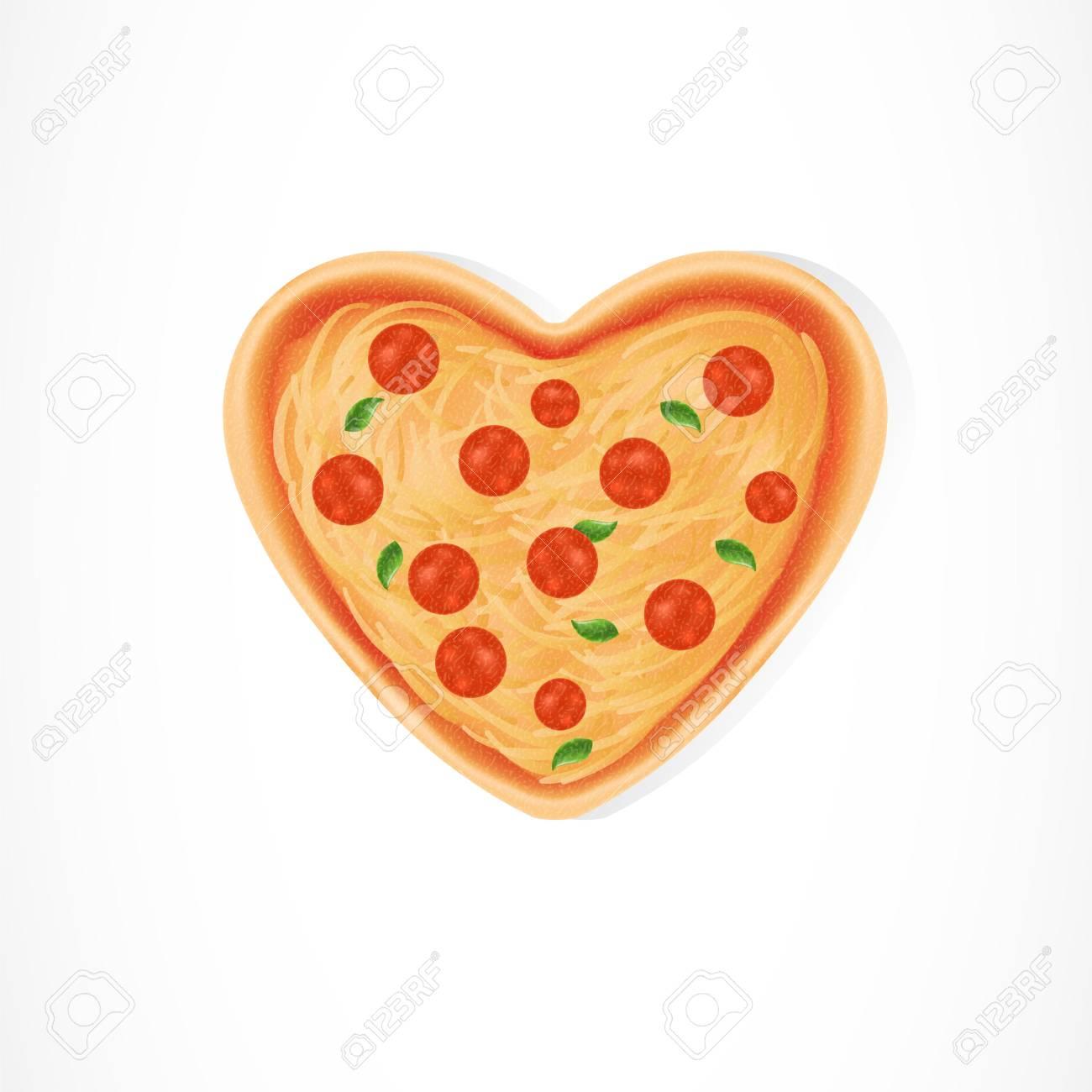 Heart shaped pizza illustration on white background...