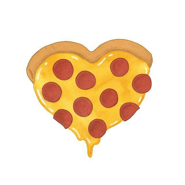 Heart Shaped Pizza Illustration ♥♥♥.