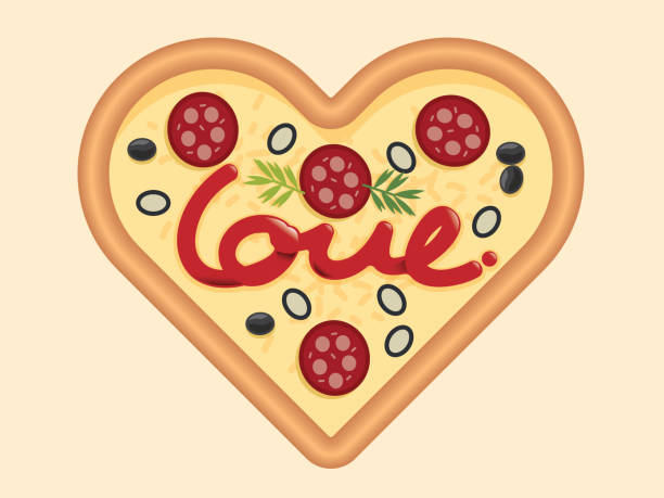 Best Heart Shaped Pizza Illustrations, Royalty.