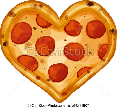 Whole pepperoni pizza in the shape of a heart.