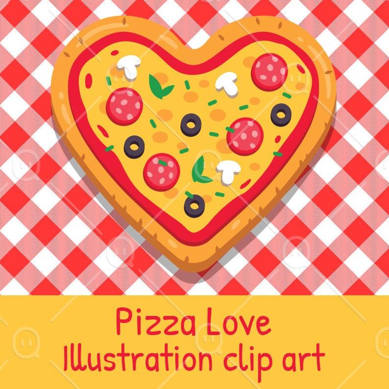 Pizza Love Illustration Clipart, Heart Shape Pizza, Valentine's Day Funny  Idea.