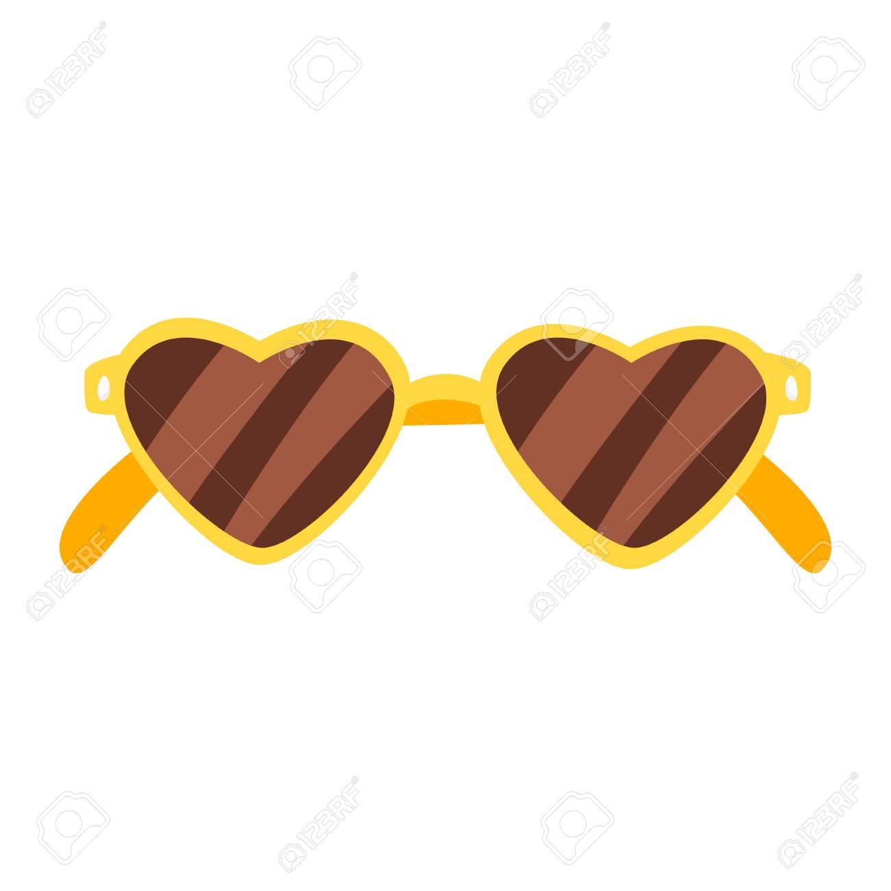 Vector cartoon style illustration of heart shaped sunglasses.