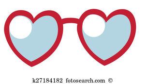 Heart Shaped Sunglasses Vector.