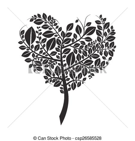 Heart Shaped Tree Silhouette Vector Illustration Isolated on White.