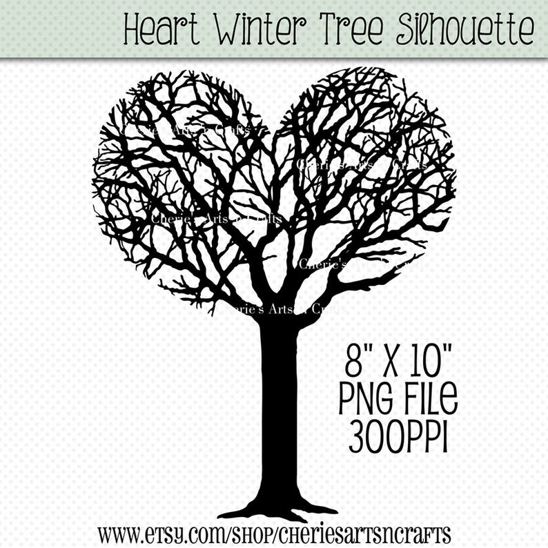 Heart Shaped Tree Silhouette, Silhouettes, Silhouette Tree, Heart Shaped  Tree Clipart, Tree Clip Art, Tree Graphics, Digital Download, PNG.