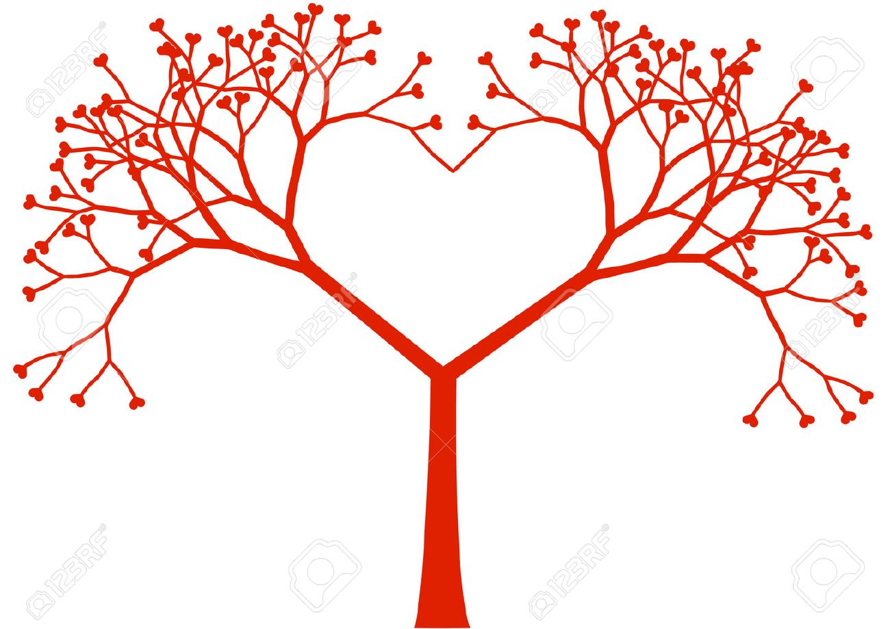 heart shaped tree with heart leaves, vector.