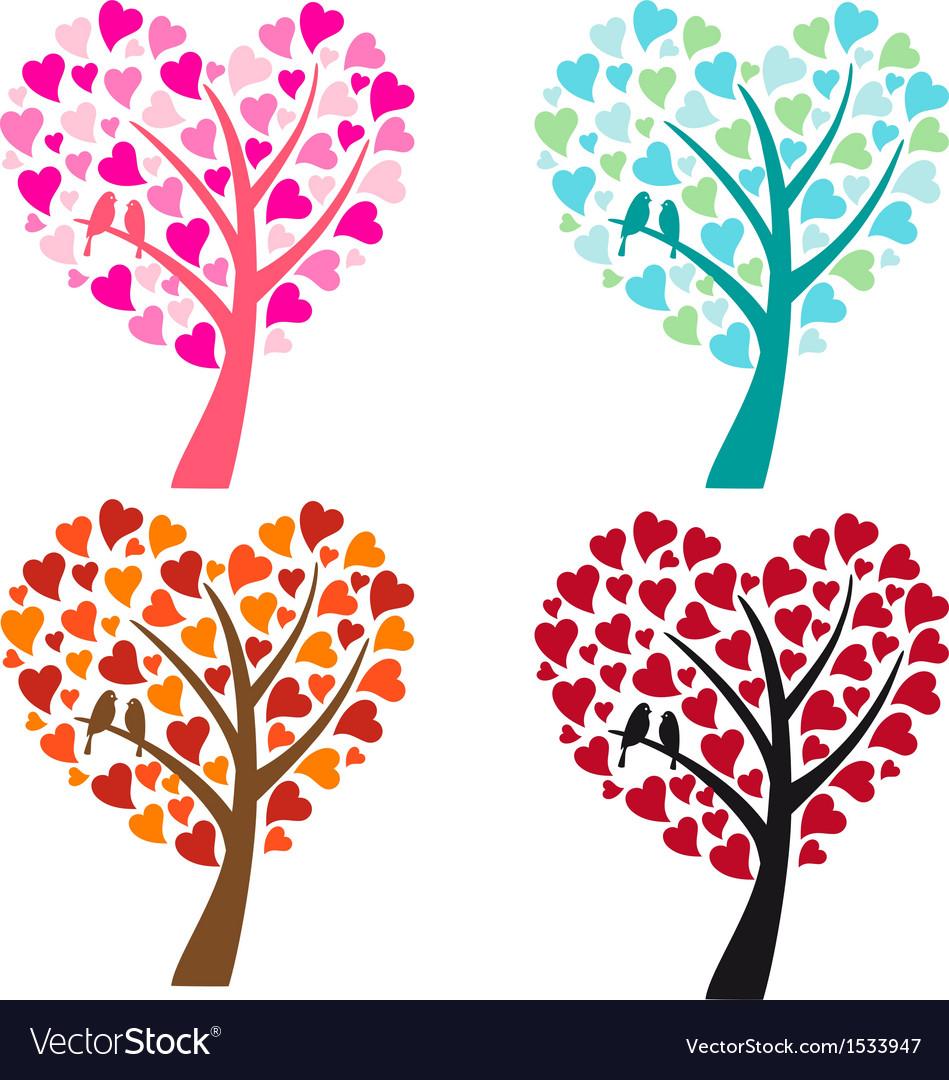 Heart shaped tree with birds.