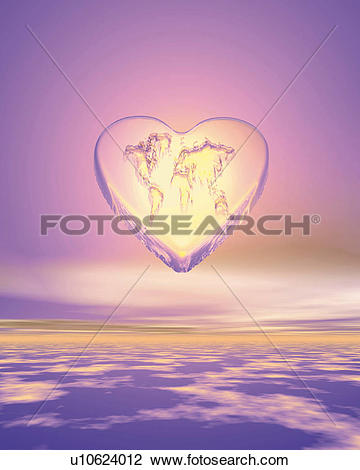 Clip Art of Heart shaped world map in the sky, Computer Graphics.