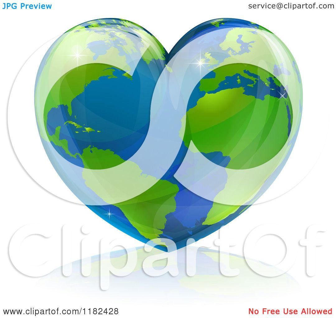 Clipart of a Shiny Heart Shaped Earth.