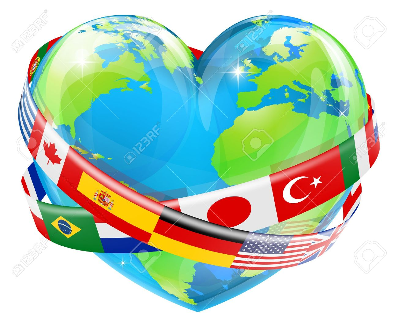 An Illustration Of A Heart Shaped World Earth Globe With The.