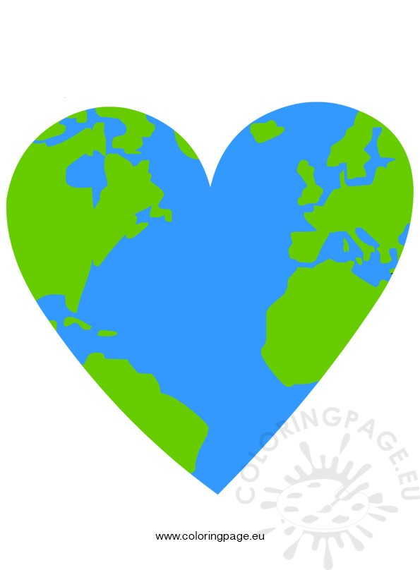 Heart Shape With World Map.
