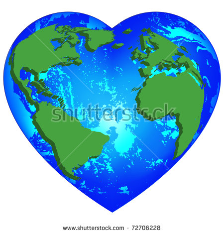 Earth Heart Stock Images, Royalty.