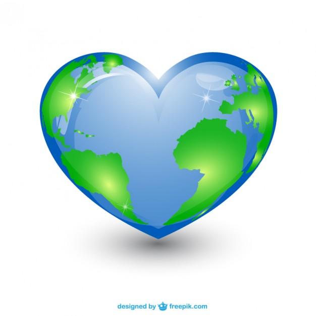 Heart shape planet Earth Vector.